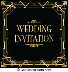 gatsby art deco wedding invite
