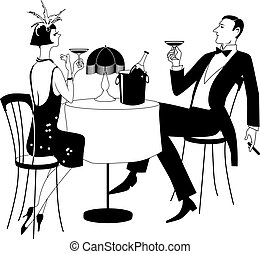 gatsby dining - Couple dressed in 1920th period clothes...
