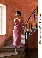 Gatsby lady on stairs