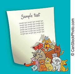 gatti, disegno, cani, cartone animato