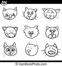 gatti, gattini, cartone animato, collezione, icone