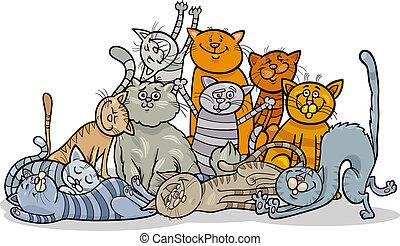 gatti, gruppo, cartone animato, illustrazione, felice