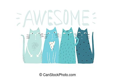 gatti, impressionante, disegno