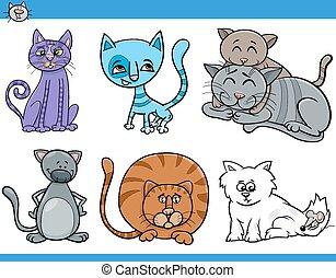 gatti, set, cartone animato, illustrazione