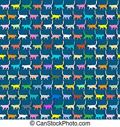 gatti, silhouette, carta da parati, seamless, colorito