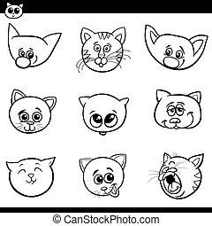 gatti, teste, cartone animato, collezione, gattini