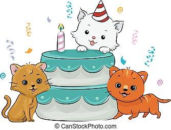 gatti, torta compleanno, coriandoli