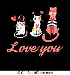 gatti, vettore, amore, cartolina auguri