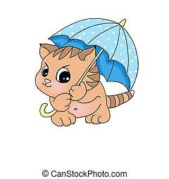 gattino, checrful, carttoon, carino, sotto, illustrazioni, ombrello