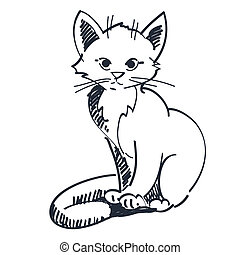 gattino, illustrazione, seduta, vettore