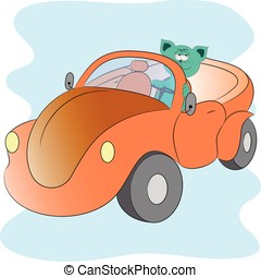 gatto, automobile, cartone animato