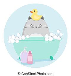 gatto, bagno, detenere