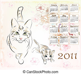gatto, calendario, gattino, 2011