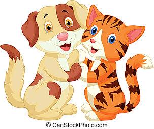 gatto, cartone animato, cane, carino