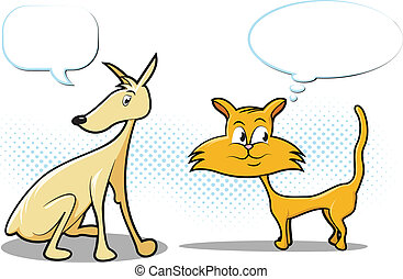gatto, cartone animato, cane