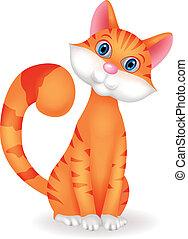 gatto, cartone animato, carattere