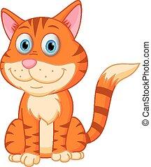 gatto, cartone animato, carino