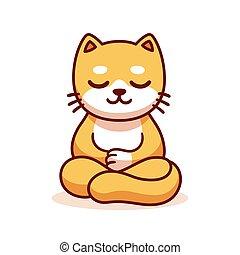 gatto, cartone animato, meditare