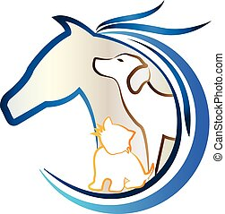 gatto, cavallo, cane, logotipo