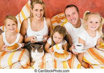 gatto, colazione, famiglia, detenere