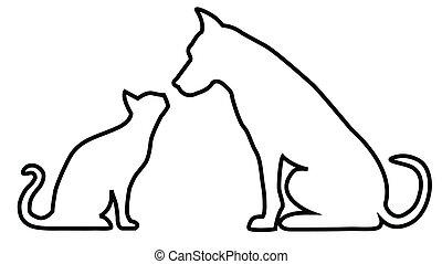 gatto, composizione, cane