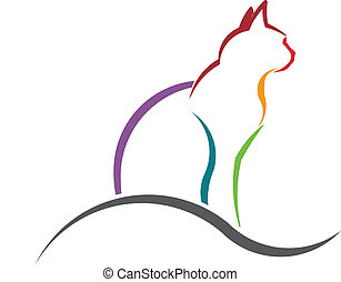 gatto, disegnato, colorare, image., silhouette