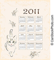 gatto, gattini, calendario, 2011