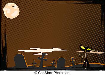 gatto, halloween, vettore
