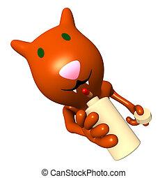 gatto, intagliato, bottiglia, rondine, pillola, vista