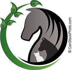 gatto, logotipo, cane, cavallo