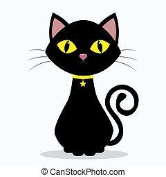 gatto nero, con, giallo, occhi, su, il, collo, di, uno, medaglione, in, il, forma, di, uno, stella, su, uno, nastro giallo, isolato, su, uno, bianco, fondo.
