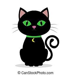 gatto nero, con, occhi verdi, su, il, collo, di, uno, medolene, in, il, forma, di, luna, su, uno, verde, nastro, isolato, su, uno, bianco, fondo.