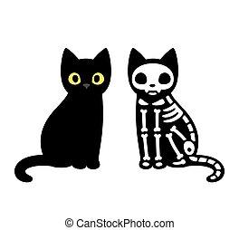 gatto, nero, illustrazione, seduta