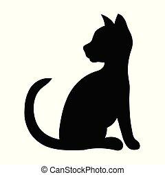 gatto nero, silhouette, seduta