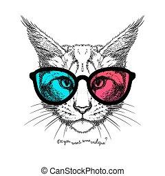 gatto, occhiali, 3d