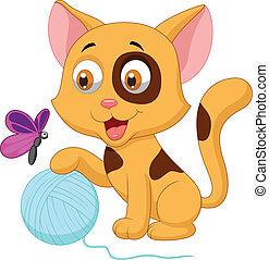 gatto, palla, gioco, carino, cartone animato