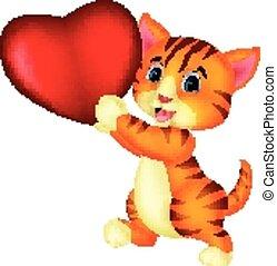 gatto, presa a terra, cuore, cartone animato, rosso