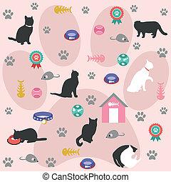 gatto, seamless, modello, icone