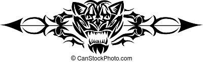 gatto selvaggio, engraving., disegno, vendemmia, tatuaggio
