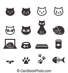 gatto, set, icona