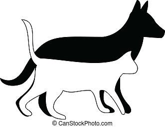 gatto, silhouette, cane cammina