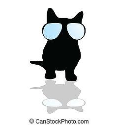 gatto, silhouette, illustrazione, occhiali