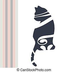 gatto, sitting., astratto, nero, figura, carino