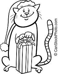 gatto, su, natale, cartone animato, libro colorante