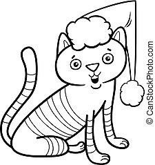 gatto, su, natale, libro colorante