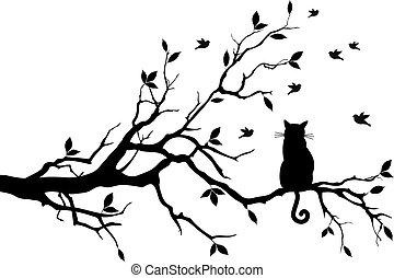 gatto, su, uno, albero, con, uccelli, vettore