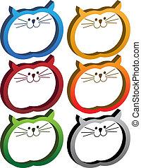gatto, t, set, icona, 3d