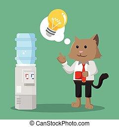 gatto, ufficio, possedere, idea
