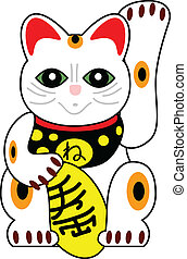 gatto, vettore, giapponese, bambola