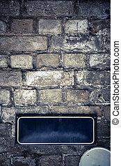 gatuskylt, på, a, tegelsten vägg
